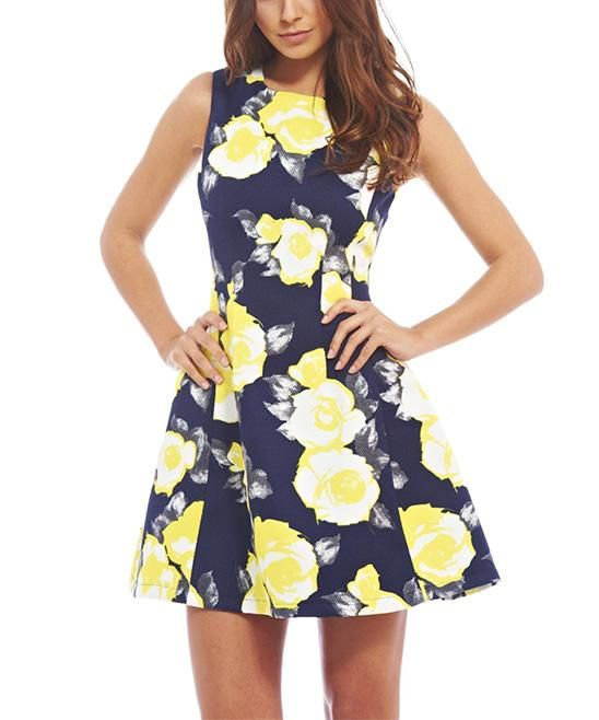 9bf02b2b90a6 Navy & Yellow Floral A-Line Dress | Women's Style | Dresses, Floral ...