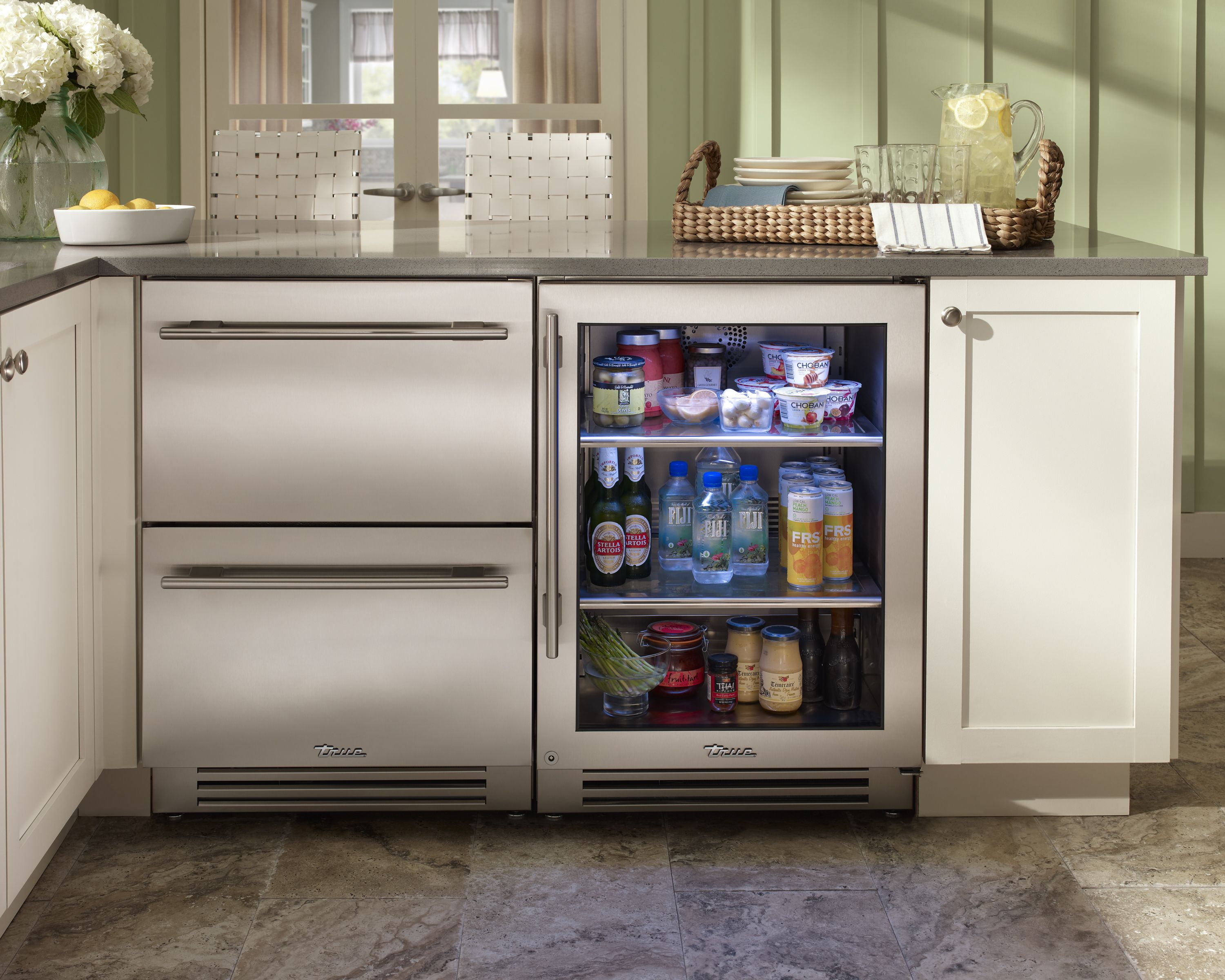 Rhode island kitchen with true residential 24 refrigerator drawers and 24 undercounter Drawers in kitchen design
