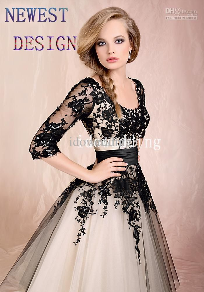Whole Newest Prom Dresses Design Vogue Black Lace Tea Length