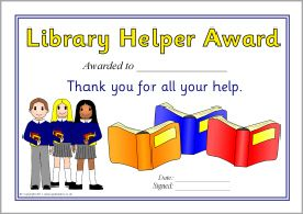 Librarian Library Helper Award Certificates Sb3681 School Library Activities Library Activities Library