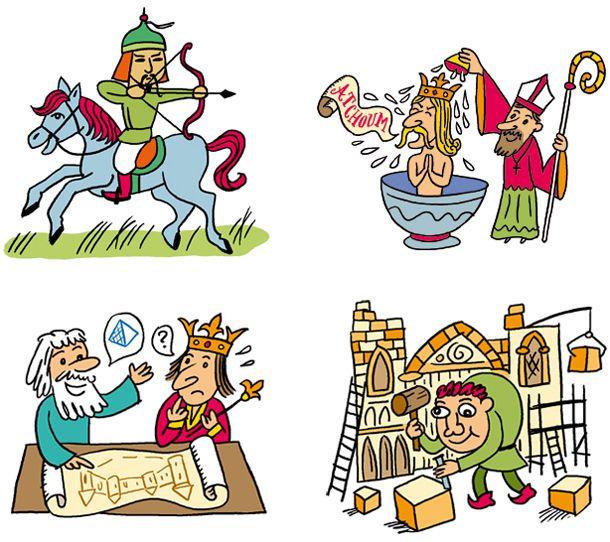 Une s rie de petits dessins pour une frise du moyen ge - Dessin moyen age ...