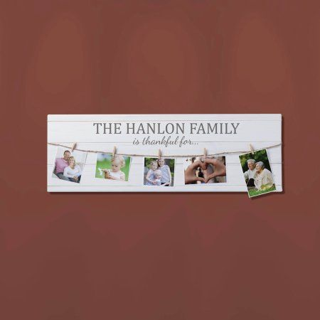 We Are Thankful Personalized 9 inch x 27 inch Canvas with Photo Clips, White