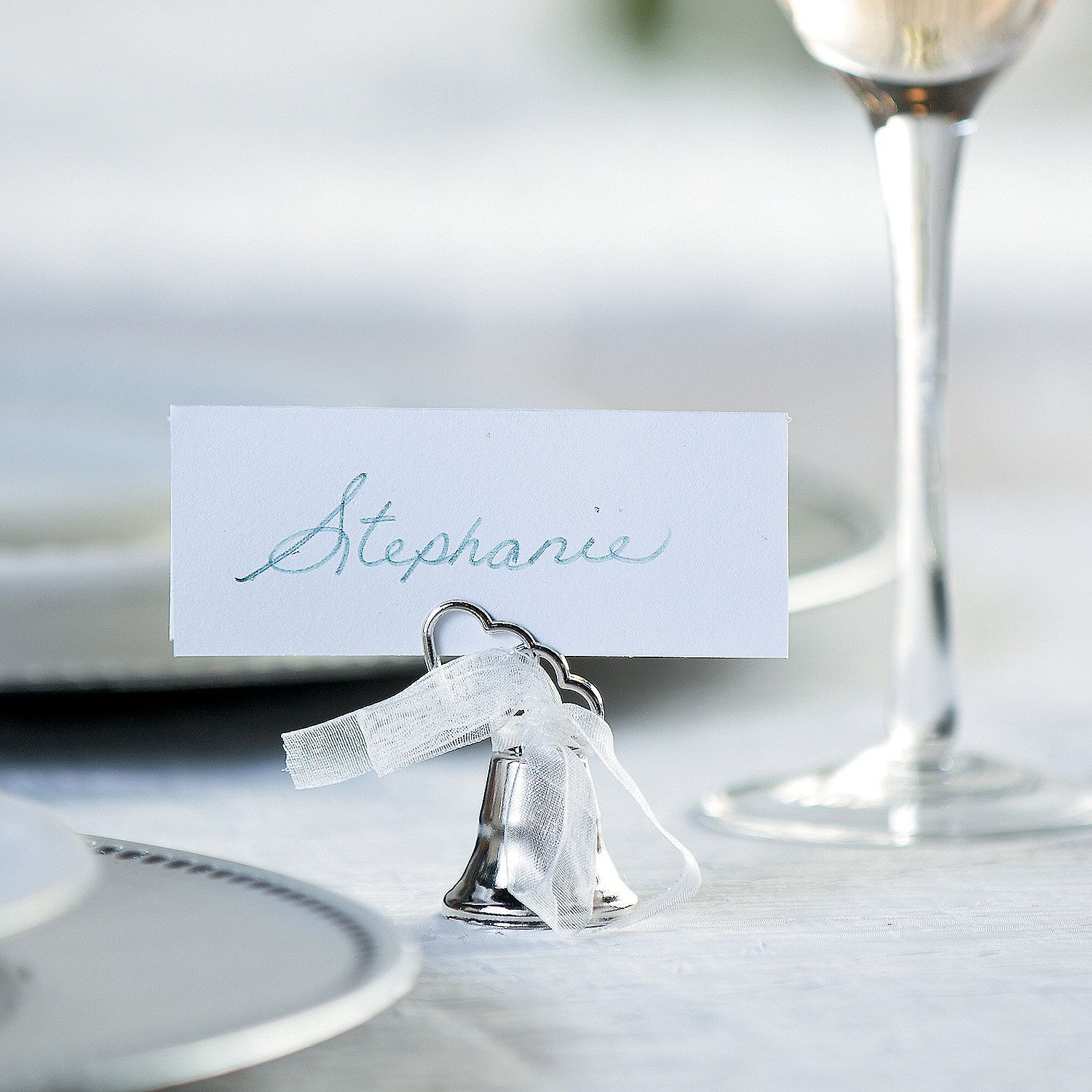 Silvertone Bell Wedding Place Card Holders | Place card, Wedding ...