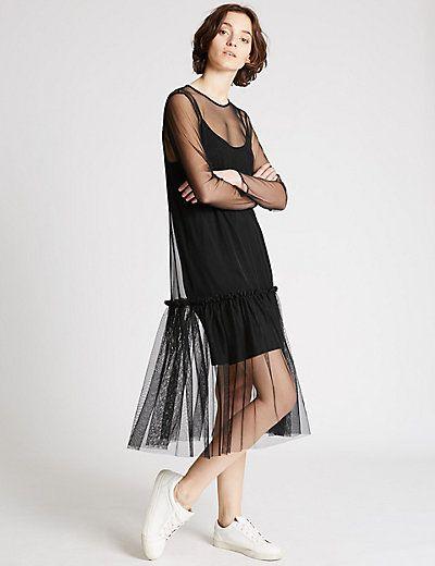 Tulle Long Sleeve Shift Dress | M&S