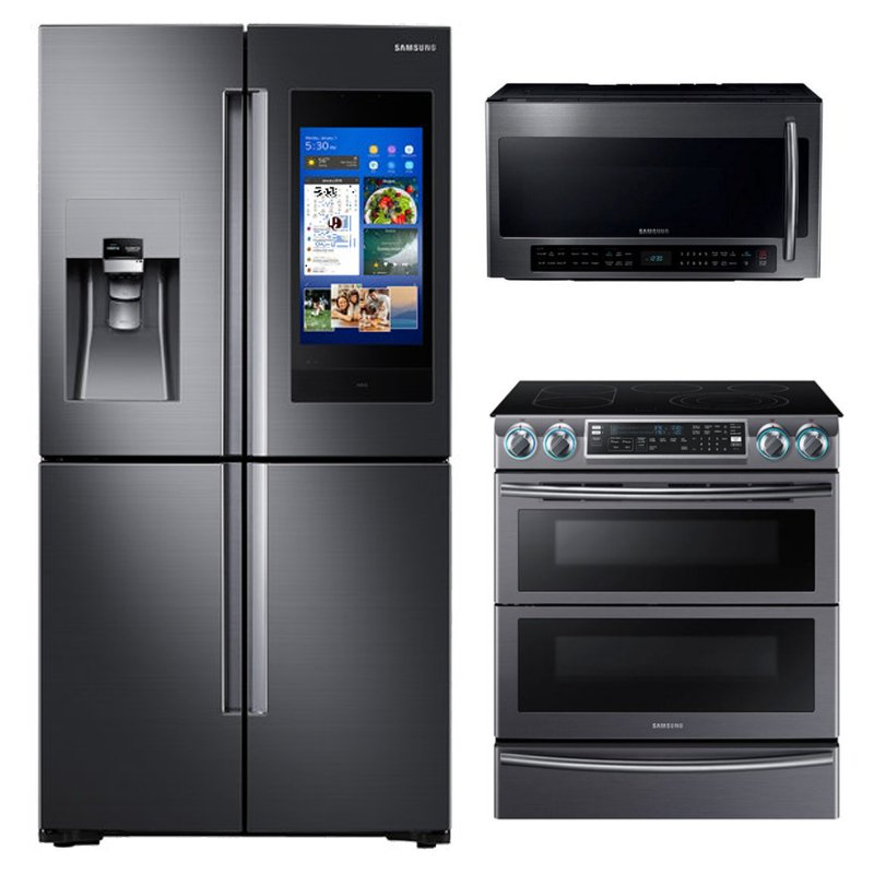 Samsung 3 Piece Kitchen Appliance Package With 5 8 Cu Ft Electric Kitchen Appliances Kitchen Appliance Packages Outdoor Kitchen