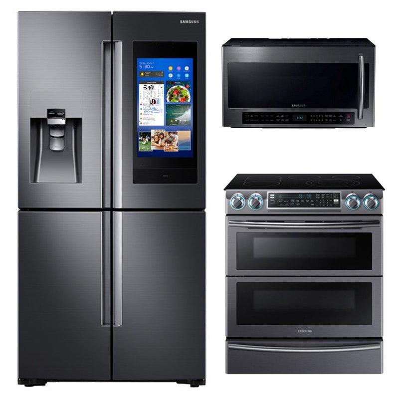 Samsung 3 Piece Kitchen Appliance Package With 5 8 Cu Ft Electric Kitchen Appliance Packages Kitchen Appliances Outdoor Kitchen Appliances