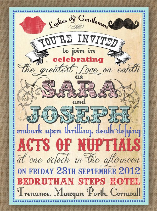 Vintage Circus Carnival Poster Style Wedding Invitation With