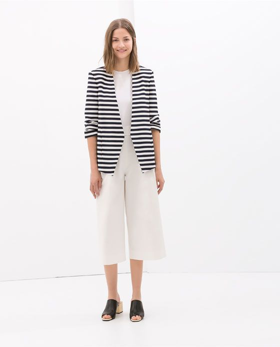 Image 1 of STRIPED BLAZER WITH ROLL-UP SLEEVE from Zara