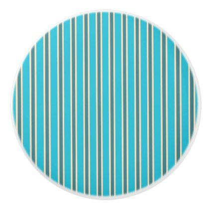 Turquoise Stripe Design - Drawer Knob - home gifts ideas decor special unique custom individual customized individualized