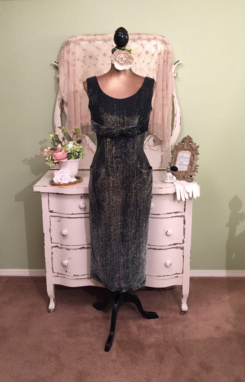50s 60s Silver Lame Dress Long Wiggle Formal Dress Vintage Evening Dress Fully Lined Hi Evening Dresses Vintage Vintage Formal Dresses Vintage Pencil Dress [ 1500 x 964 Pixel ]