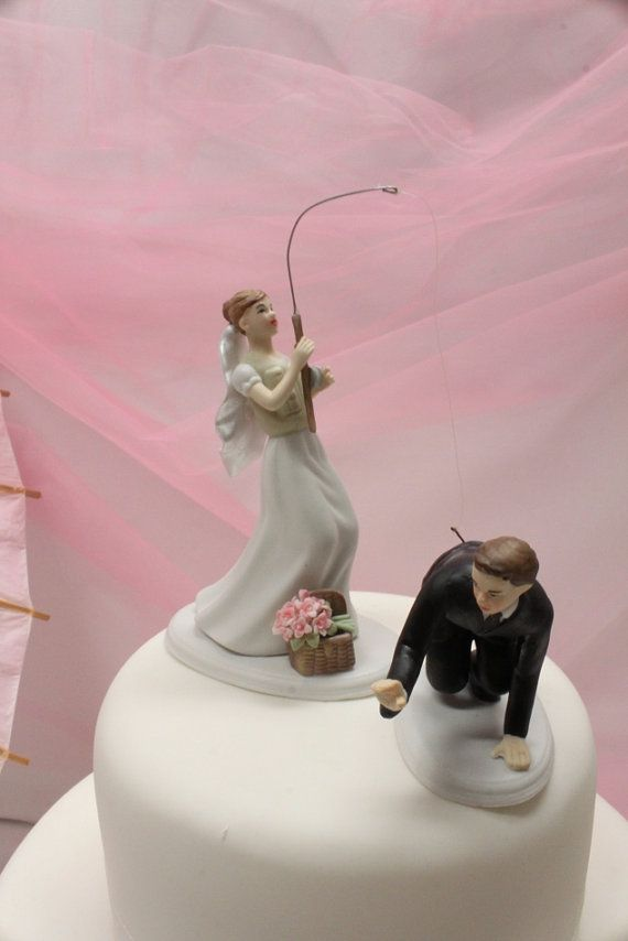 Custom Wedding Cake Topper Fishing Bride And Groom Fishing Wedding Cake Topper Fishing Theme Outdoor Wedding Woodland Wedding Boda Tarta De Cumpleanos Matrimonio