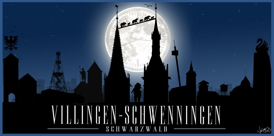 """""""MOON RIVER - Villingen-Schwenningen"""" / available in various 2:1 formats as Canvas print, alu-dibond, poster and/or greeting cards / If you're interested in this kind of print (e.g. for YOUR city), just send me a message!"""