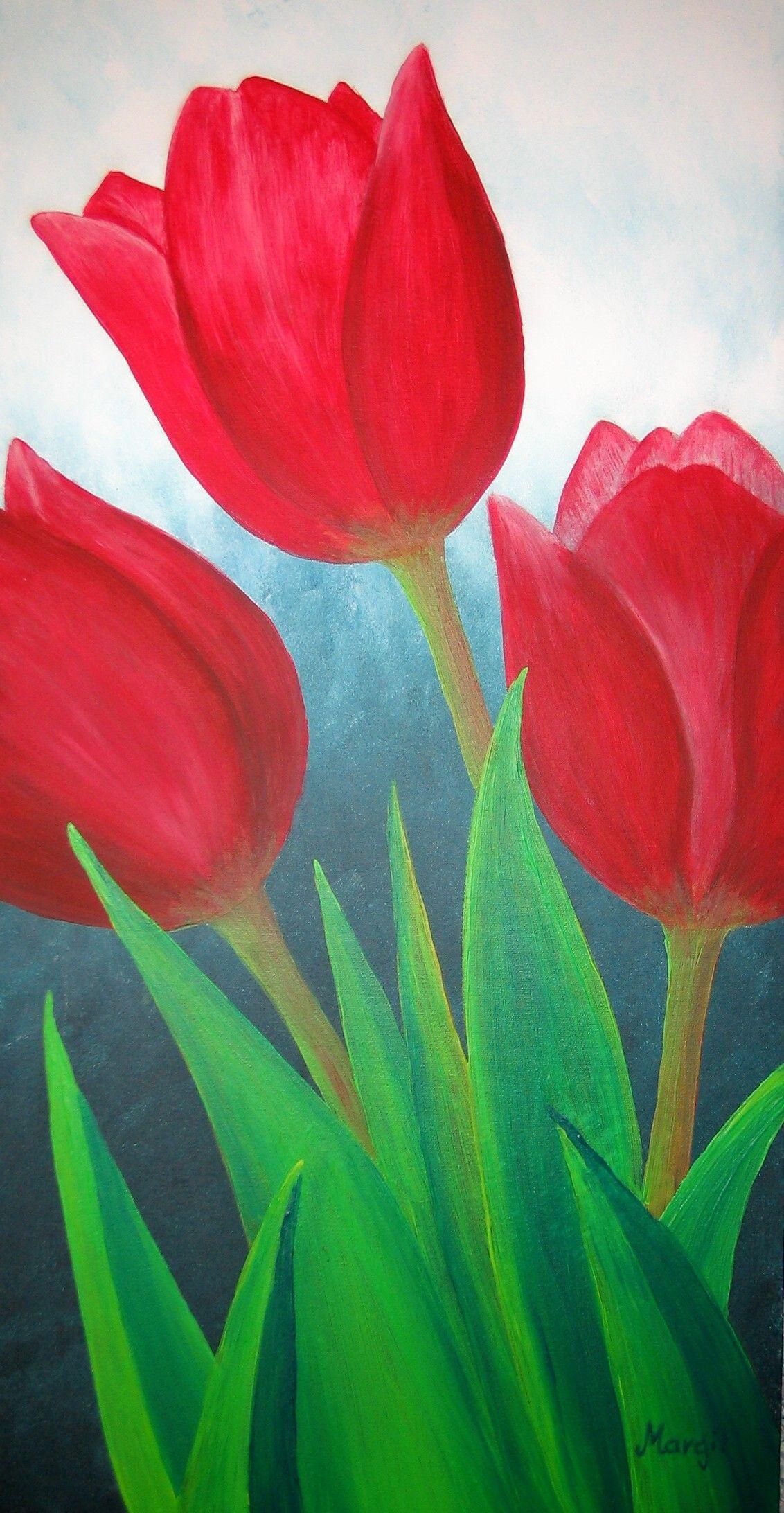 Tulpen Blumen Malen Acryl Blumen Malen Und Acrylmalerei Blumen