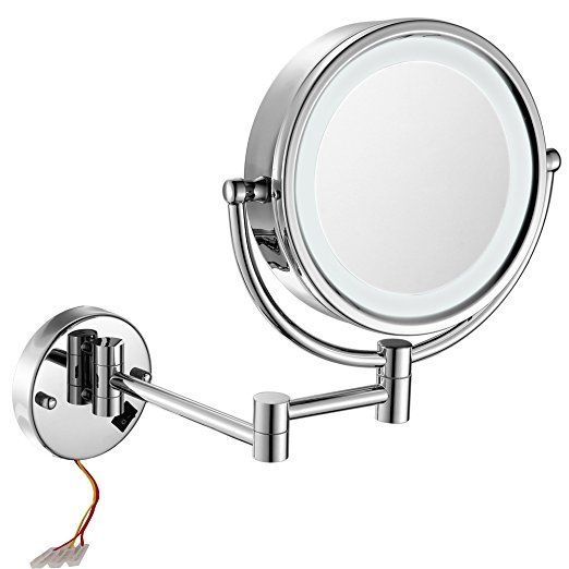 Gurun 8 5 Inch Led Lighted Wall Mount Makeup Mirrors With 10x Magnification Chrome Finish M Wall Mounted Makeup Mirror Mirror With Led Lights Magnifying Mirror