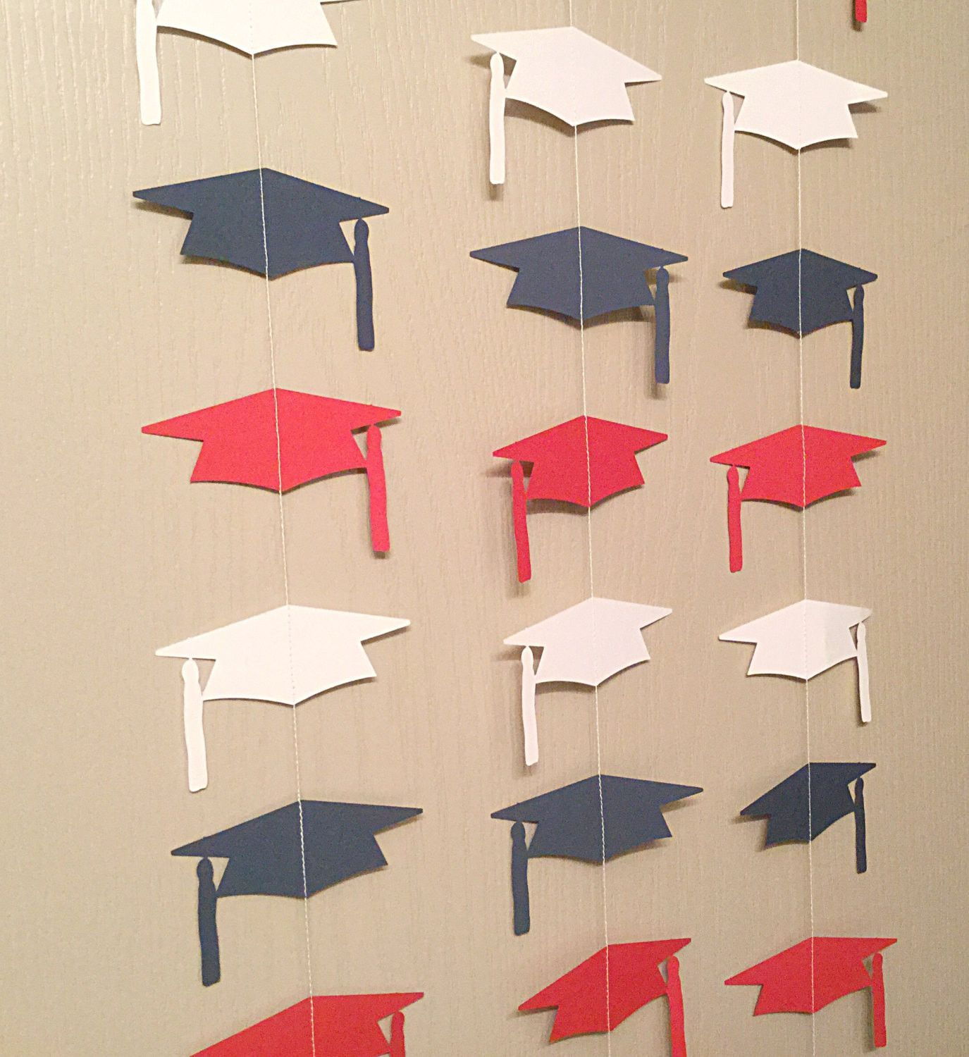 1 Red, White, and Blue Graduation Cap Garland Streamer For Parties, Back Drops