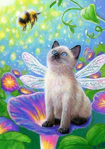 Aceo Original Siamese Kitten Cat Fairy Bee Morning Glory Flowers Painting Art Cat Art Cute Art Art