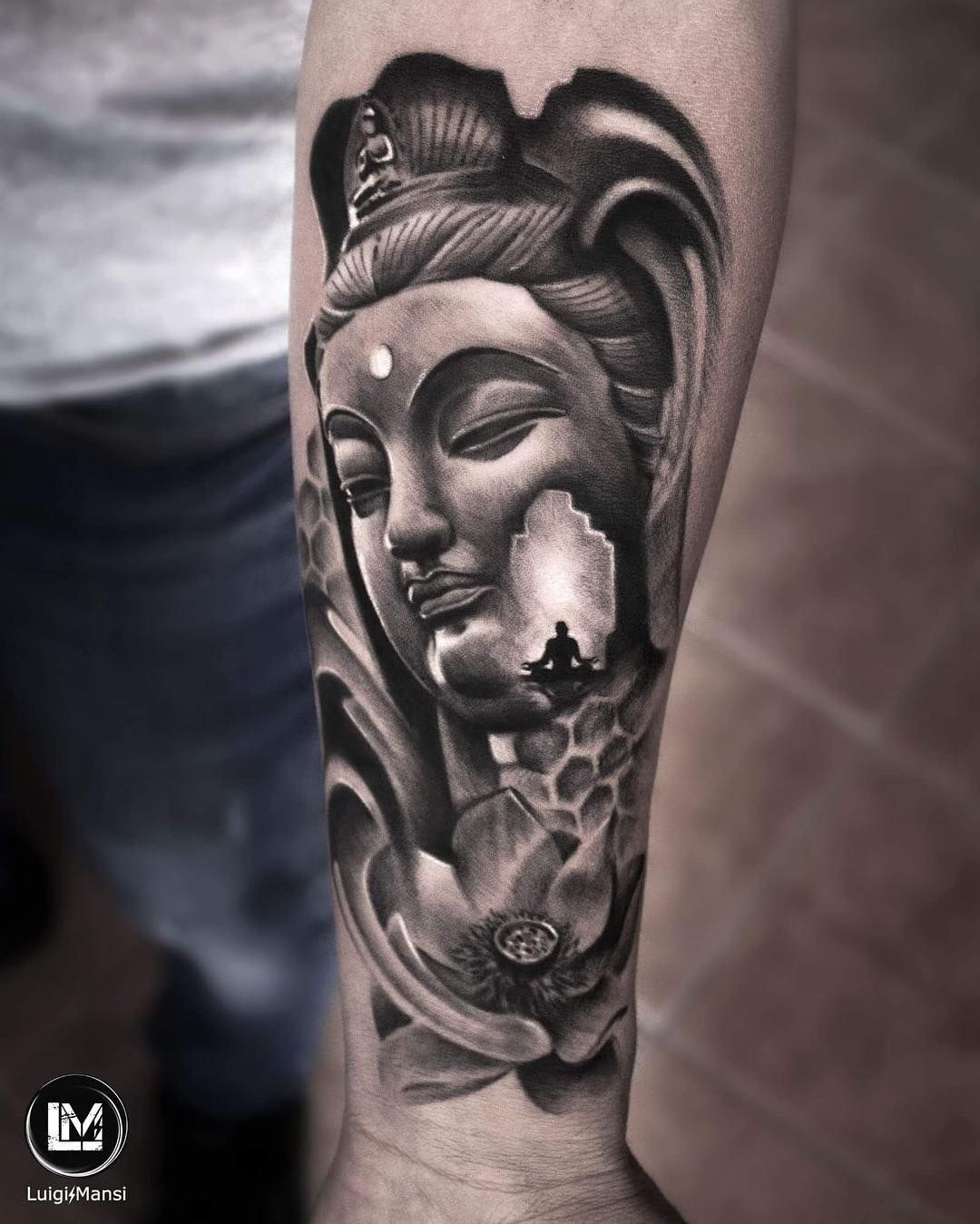 Realistic And Surrealistic Tattoo From The Photography Of Buddha Black Gray Info Luigimansi It Buddha Tattoo Design Black And Grey Tattoos Cool Tattoos