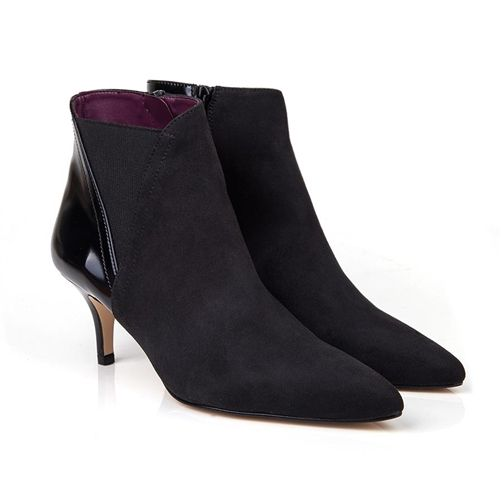 Candy Black Faux Suede Vegan Kitten Heel Ankle Boot Non Leather Pleather With Synthetic Faux Leather Lining 100 Vegan Boots Vegetarian Shoes Vegan Ankle Boots