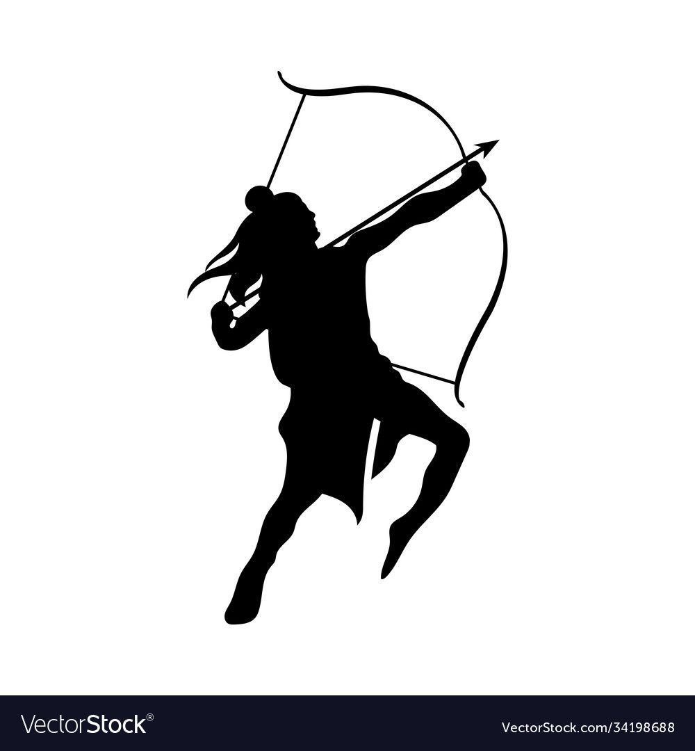 Dussehra lord ram with bow and arrow black vector