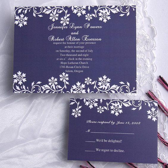 Winter Wedding Invitations Cheap: Navy Blue Floral Wedding Invitation ING101 [ING101]