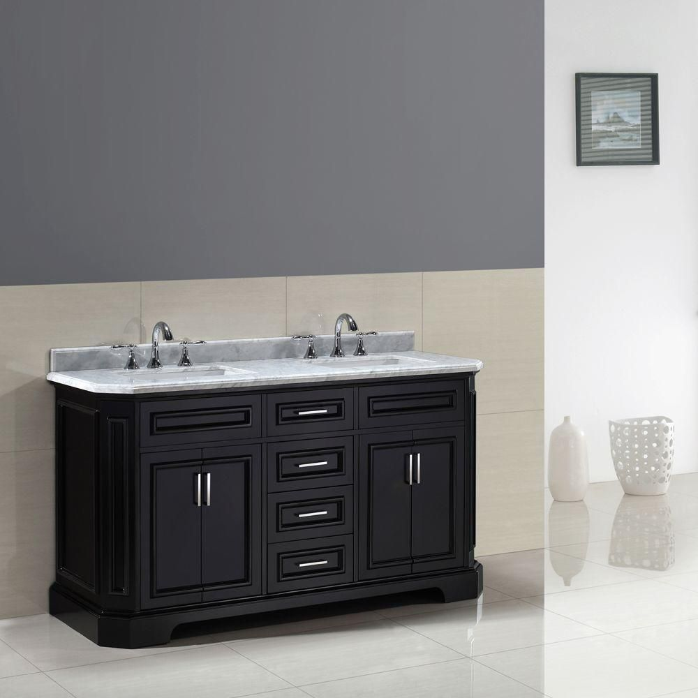 Pegasus Bristol 60 In. Vanity In Black With Marble Vanity Top In