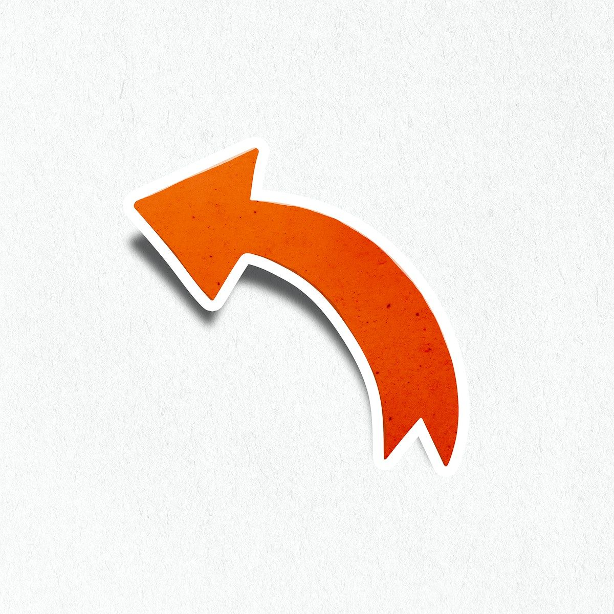 Fire Orange Turn Left Arrow Sticker With White Border Icon Free Image By Rawpixel Com Wan Free Illustrations Left Arrow Illustration