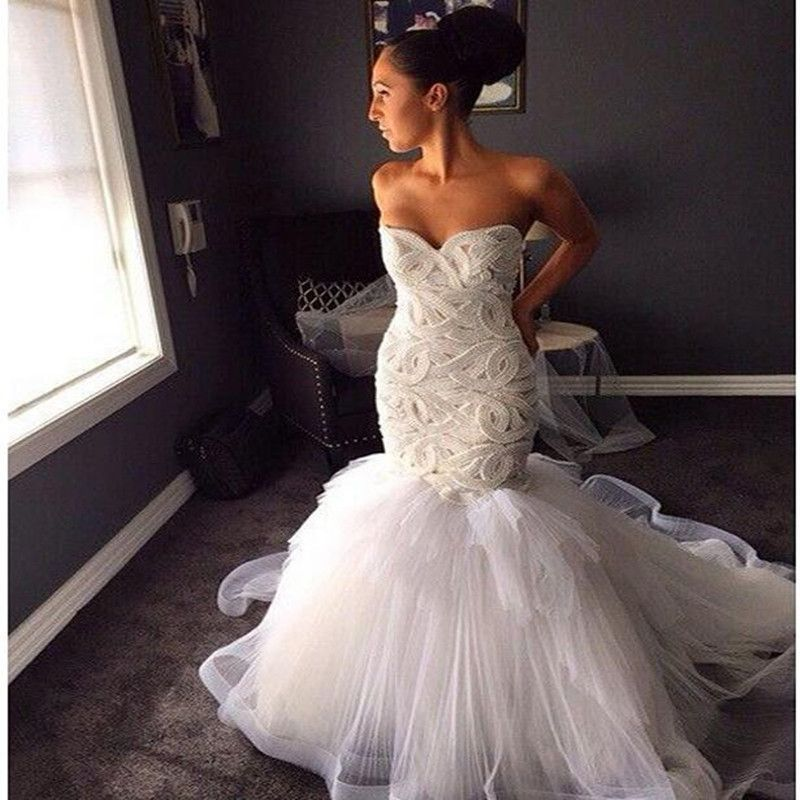 86169c16b100 Sexy Tulle Mermaid Wedding Dresses 2016 Luxury Heavy Pearls Wedding Gowns  Delicate Sweetheart Backless Bridal Gowns 2016