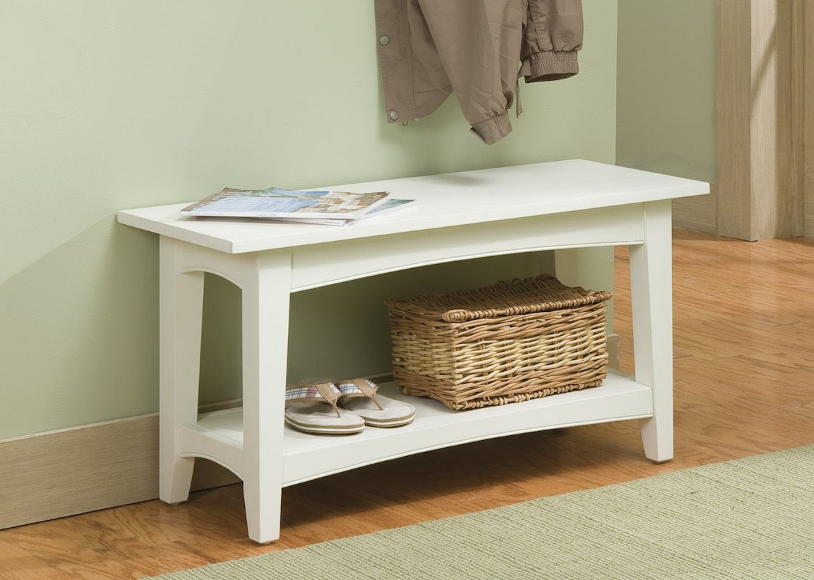 The Shaker Cottage Bench With Shelf Can Be Used As A Coffee Table