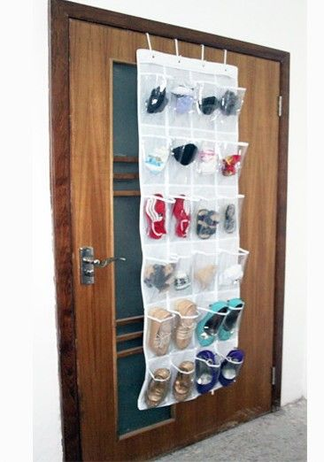 Diy hanging overdoor mount shoes organizers closet door for Bathroom closet organizer ideas