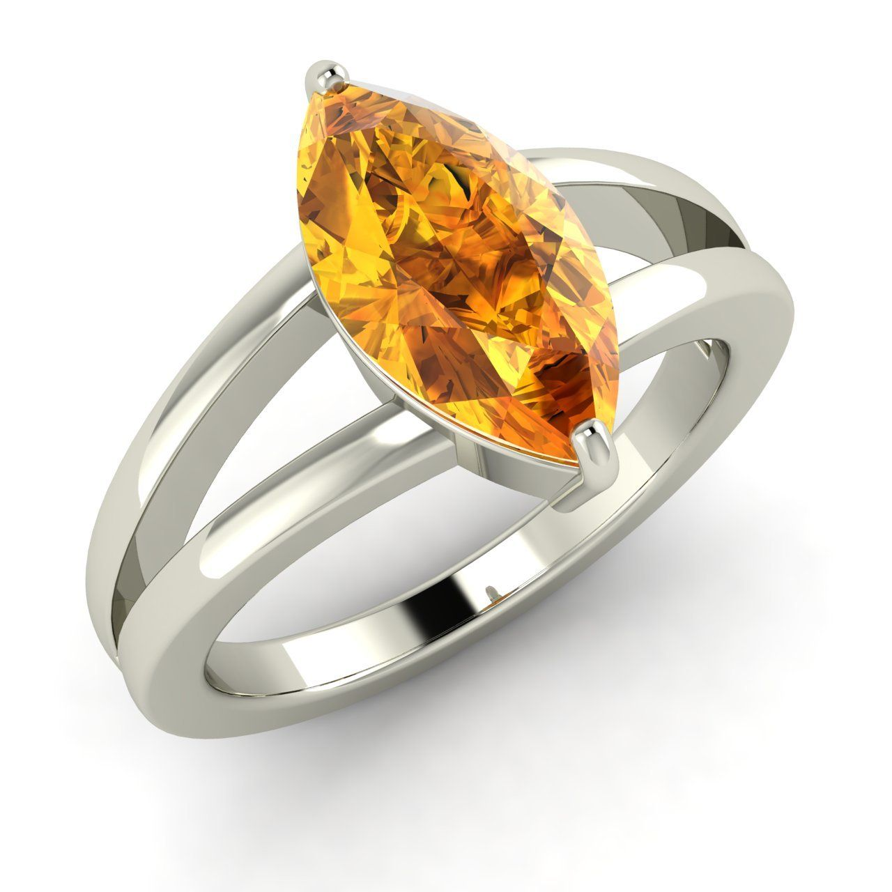 1.4 Ct Marquise Cut Natural Citrine Solitaire Ring in Solid Sterling Silver - Genuine Gemstone