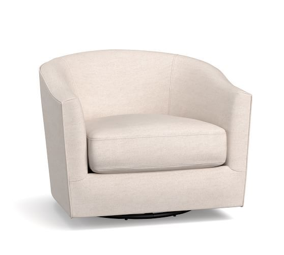 Harlow Upholstered Swivel Armchair With Polished Nickel