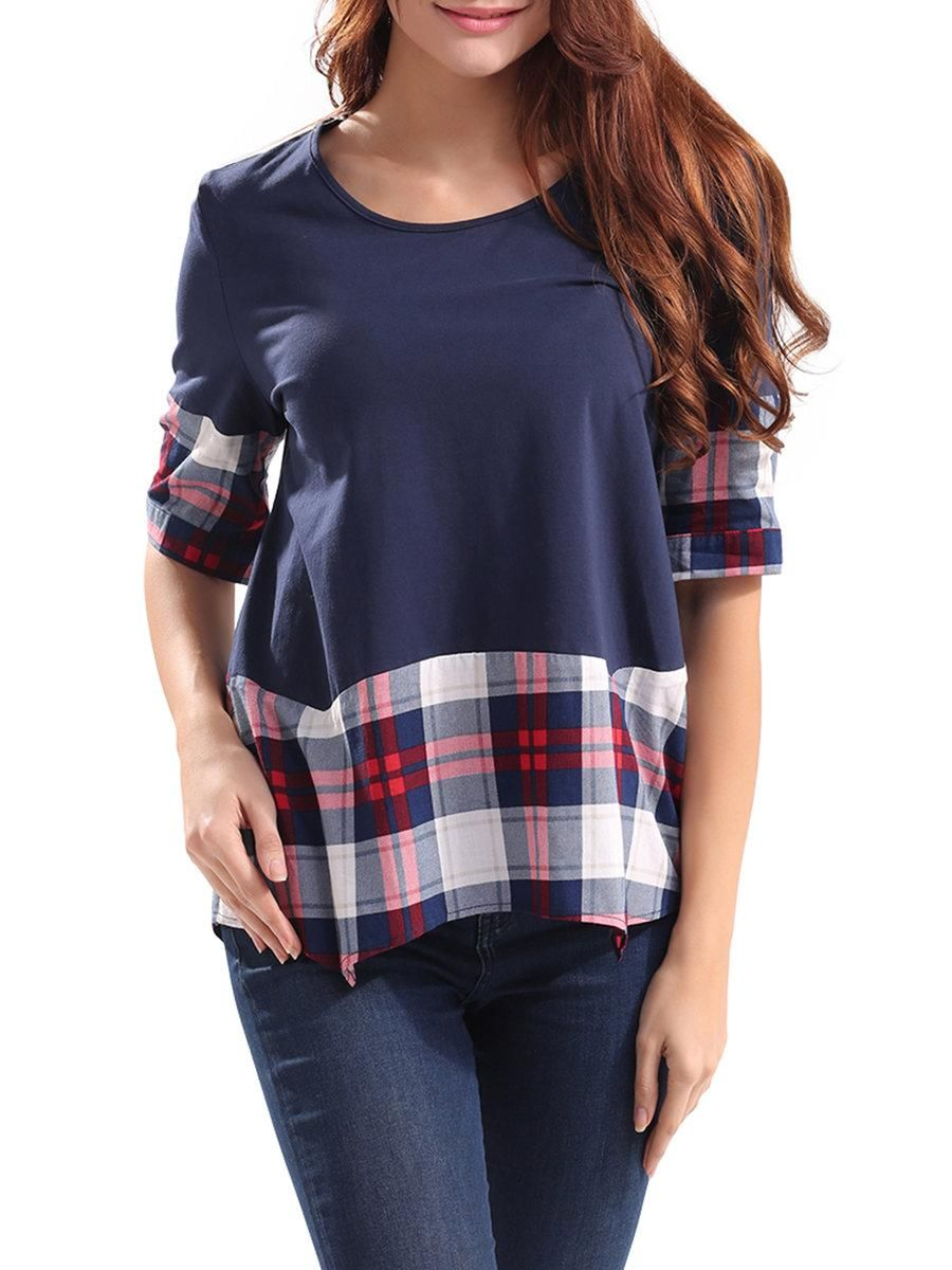 Plus size flannel shirt dress  AdoreWe JustFashionNow lztlylzt Twirl Around Dark Blue Plaid