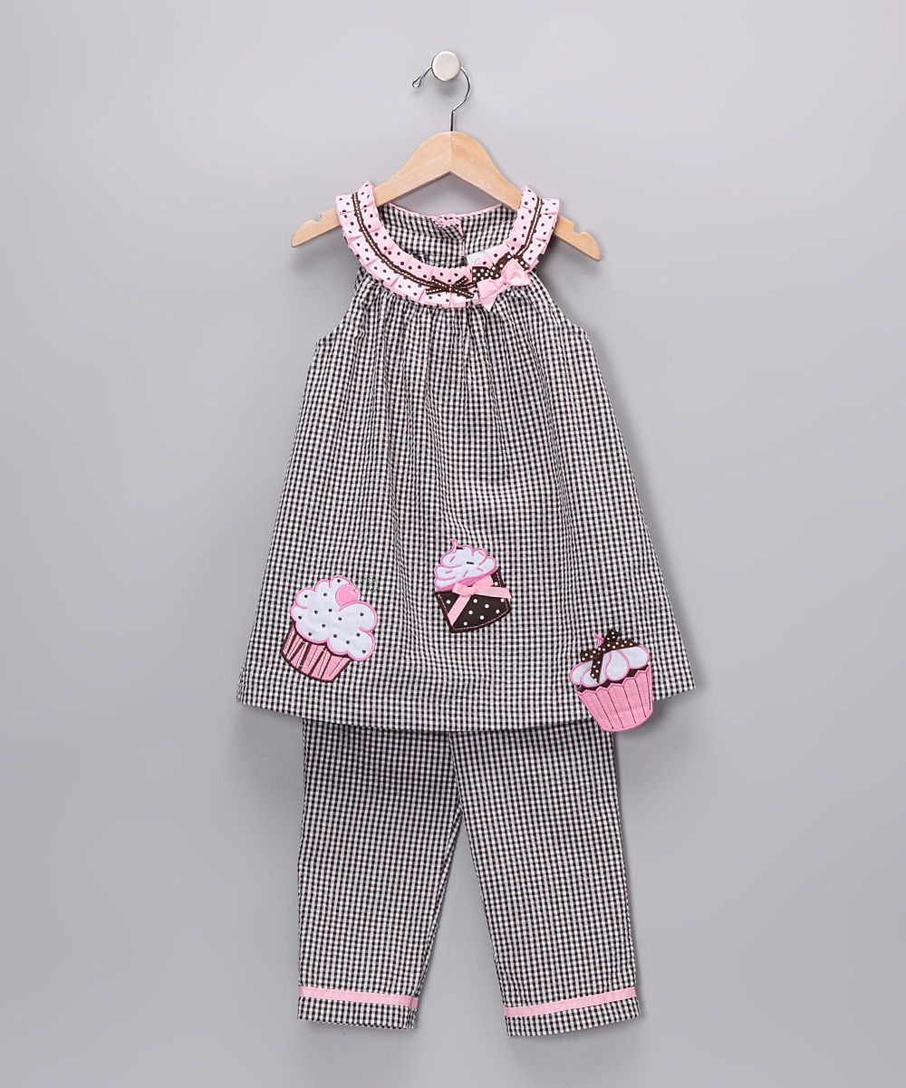 Brown & Pink Cupcake Seersucker Tunic & Pants - Girls | Daily deals for moms, babies and kids