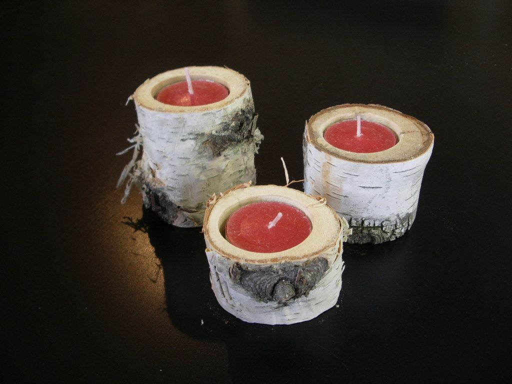 45 birch bark log tea light holders craft projects pinterest rh pinterest at