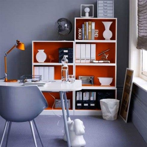 Home Office Decor Ideas And Styled Painted Bookcase Grey Orange White