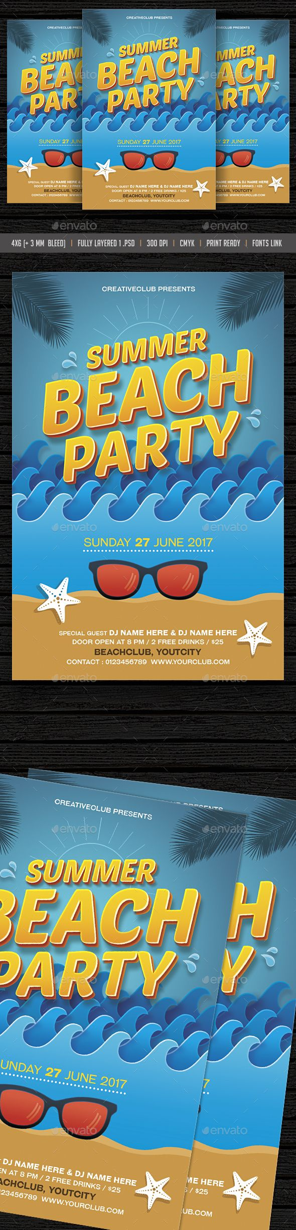 Beach Party Summer Pool Party Flyer  Party Flyer Summer Pool