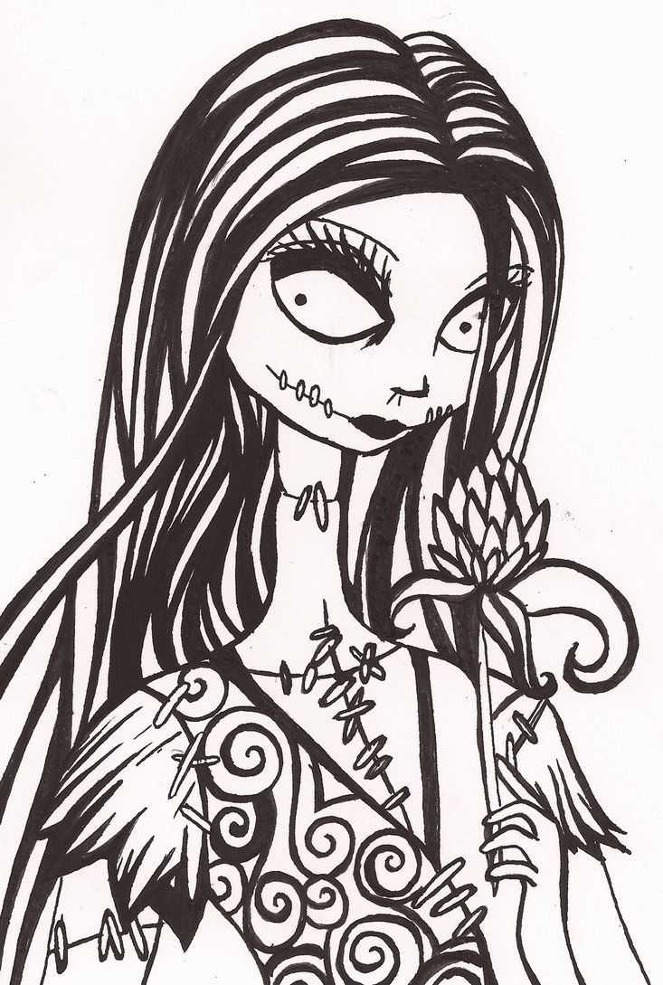 Sally Nightmare Before Christmas Drawing Black And White on ...