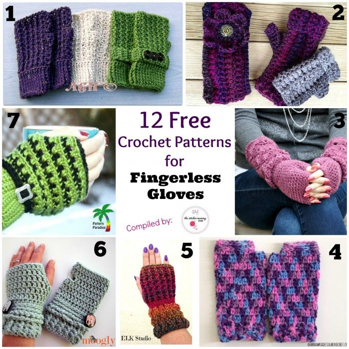 12 Free Crochet Patterns for Fingerless Gloves | Stulpen, Handschuh ...