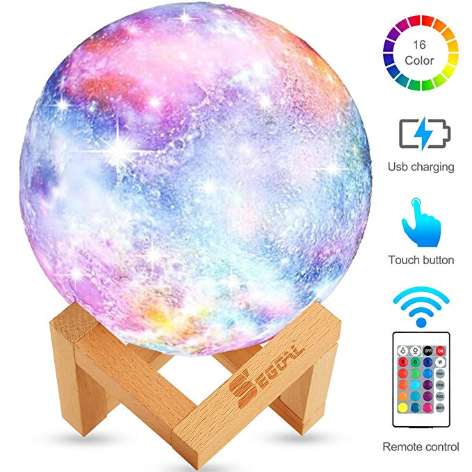 Moon Lamp Moon Light Kids Night Light Galaxy Lamp 16 Colors Led 5 9 Inch 3d Star Lamp With Wood Stand Touch Remote Con Night Light Kids Kids Night Led Color