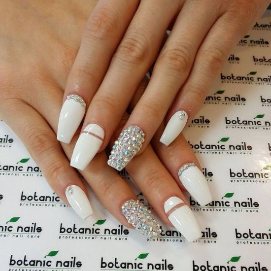 Image Result For Bedazzled French Manicure Nails Botanic Nails Bedazzled Nails Coffin Nails Designs