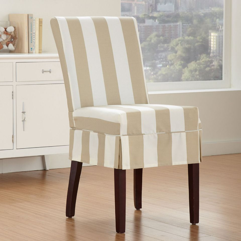 Cabana Striped Dining Chair Slipcover In Bone