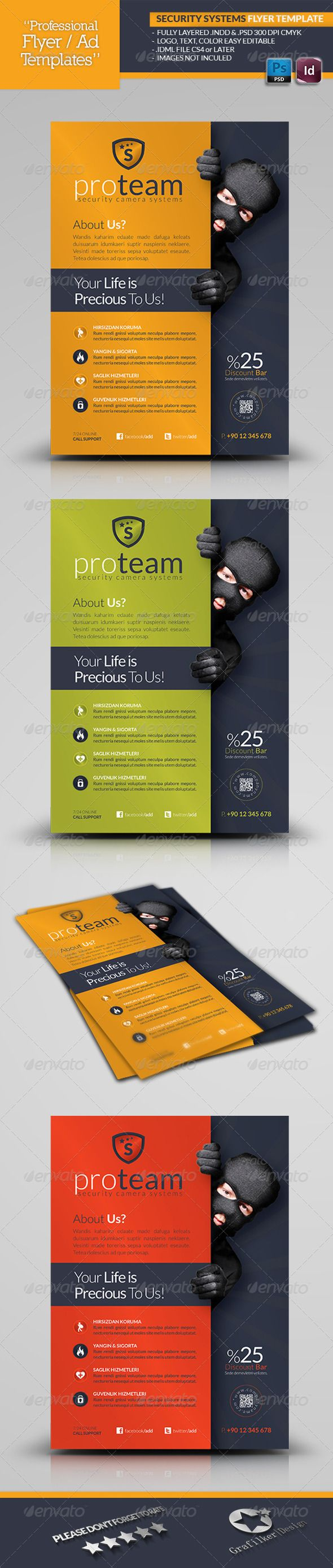 security systems flyer template design pinterest flyer