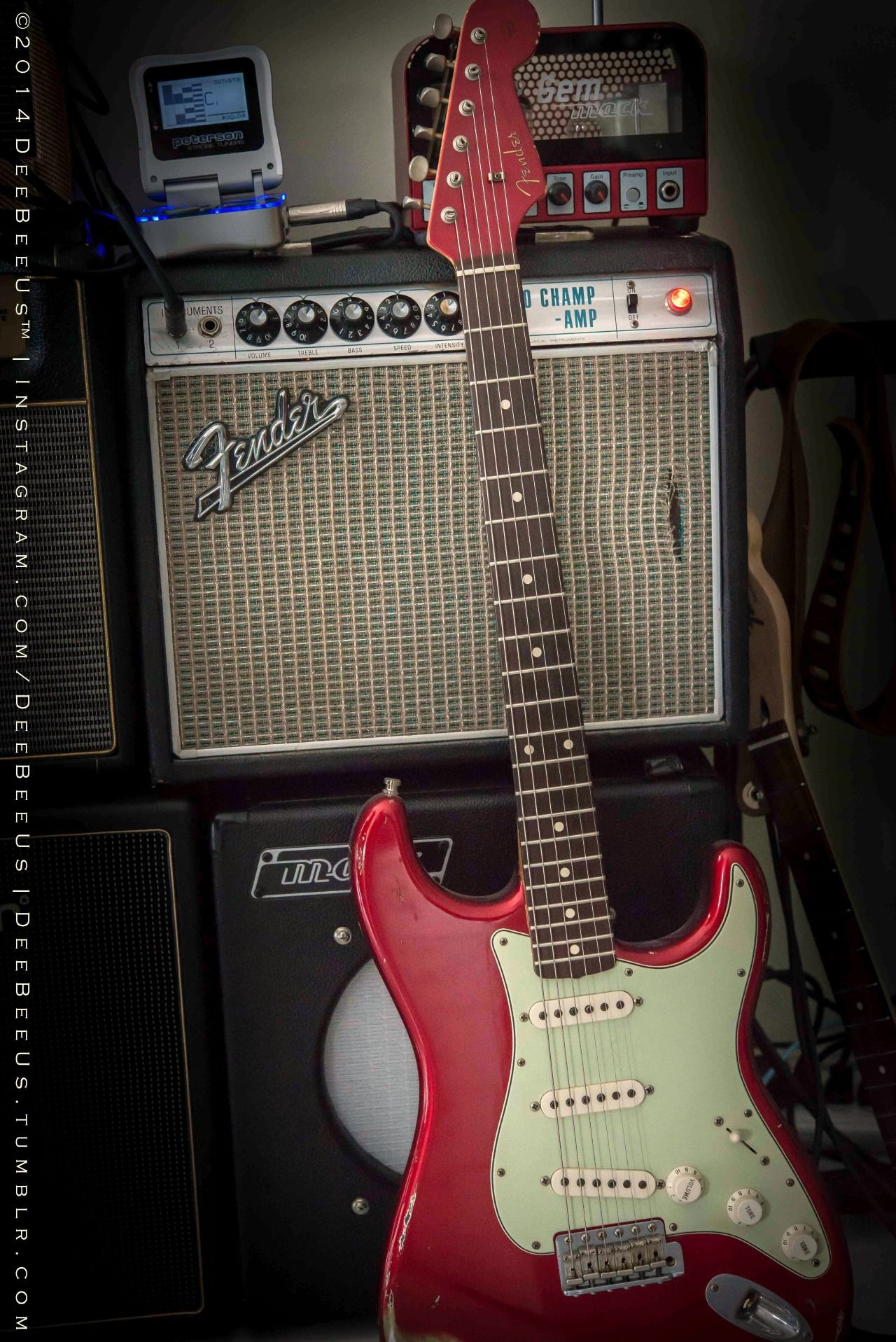 2006 Fender Custom Shop '60 Stratocaster Relic, candy apple red, with 1968 Fender Vibro Champ.