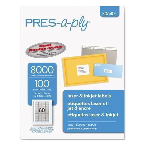 6000 Address Labels White Laser Inkjet 1 X2 5 8 5160: Laser/inkjet Address Labels, 1/2 X 1 3/4, White, 8000/pack
