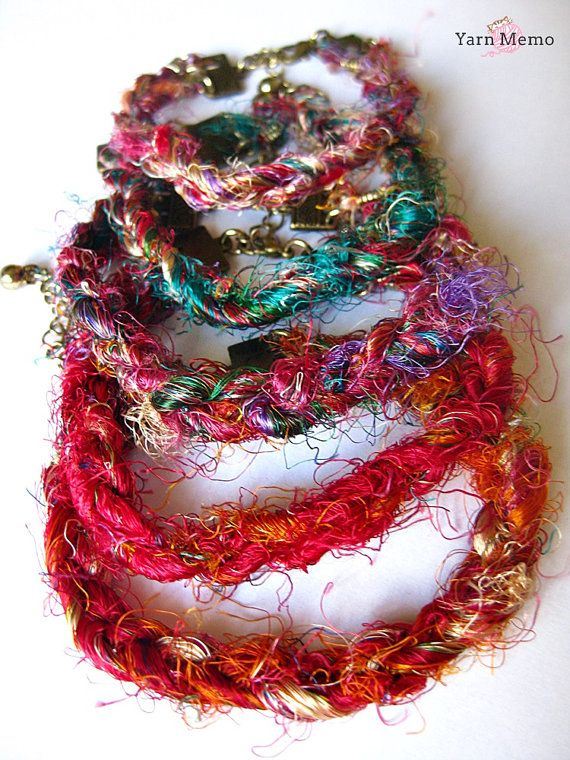 Recycled Indian Sari Silk Yarn Braided Bracelet by