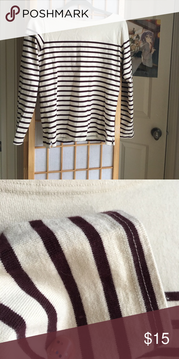 Muji striped cotton shirt M-L This is an oatmeal colored cotton shirt from muji with maroon stripes. Thick 100% cotton material , perfect for fall. Great condition, fits more like a medium Muji Tops Tees - Long Sleeve