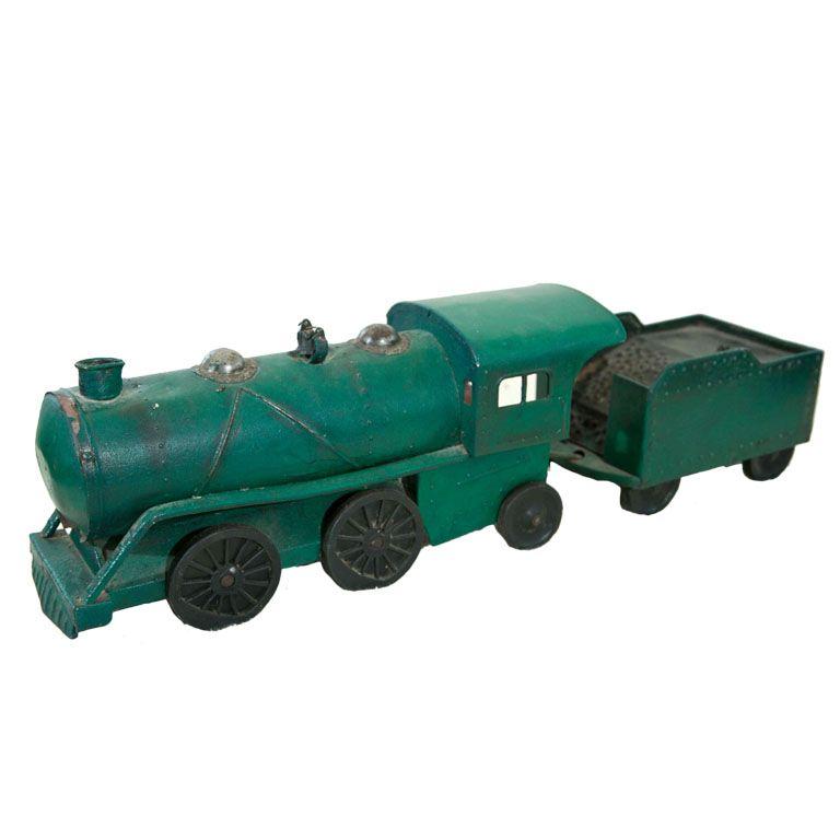 1stdibs   Folk Art Tin Plate Hand Made Locomotive And Tender