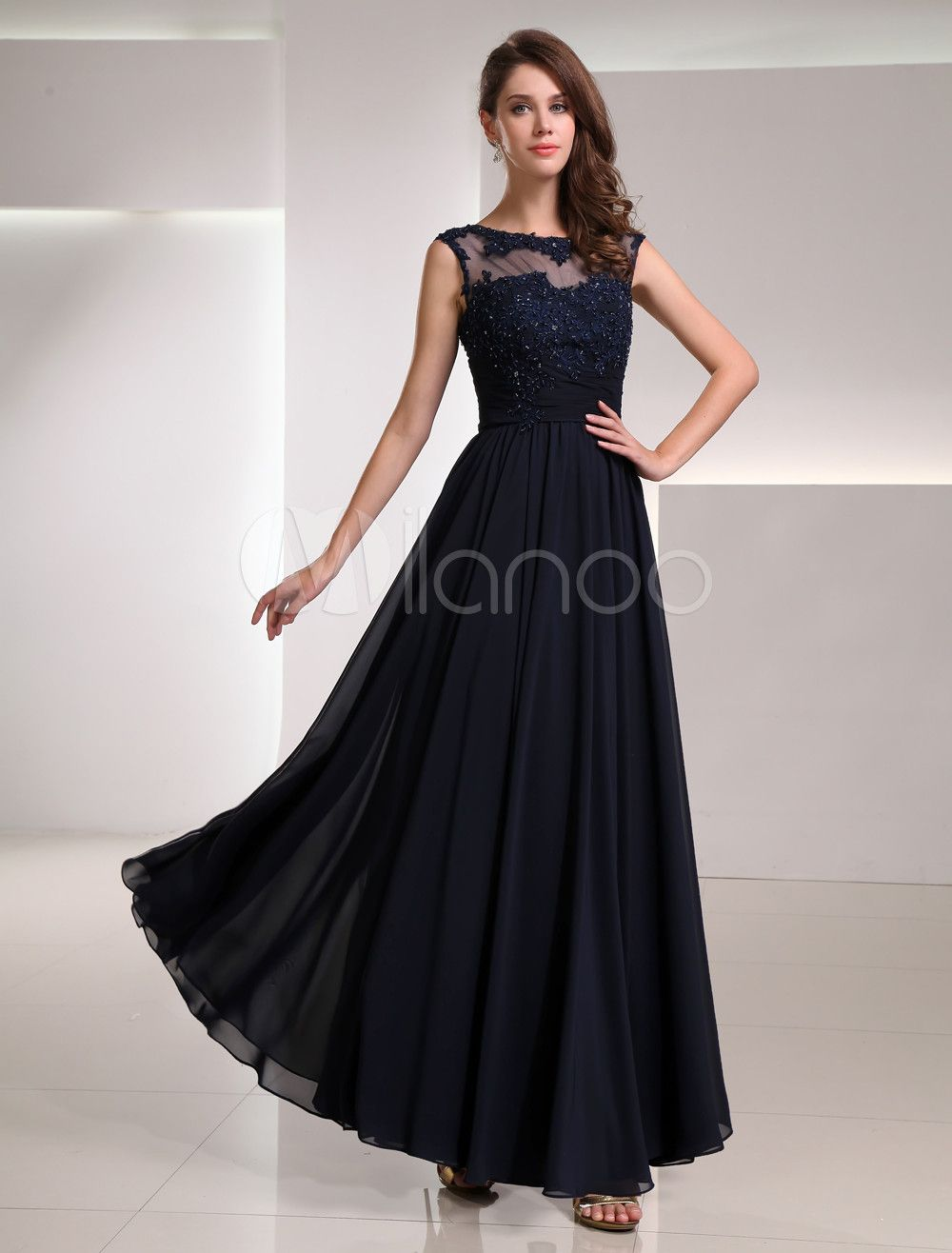 3b10aa4aacb Milanoo   Dark Navy Chiffon Long Evening Dress with Mesh Illusion Neck
