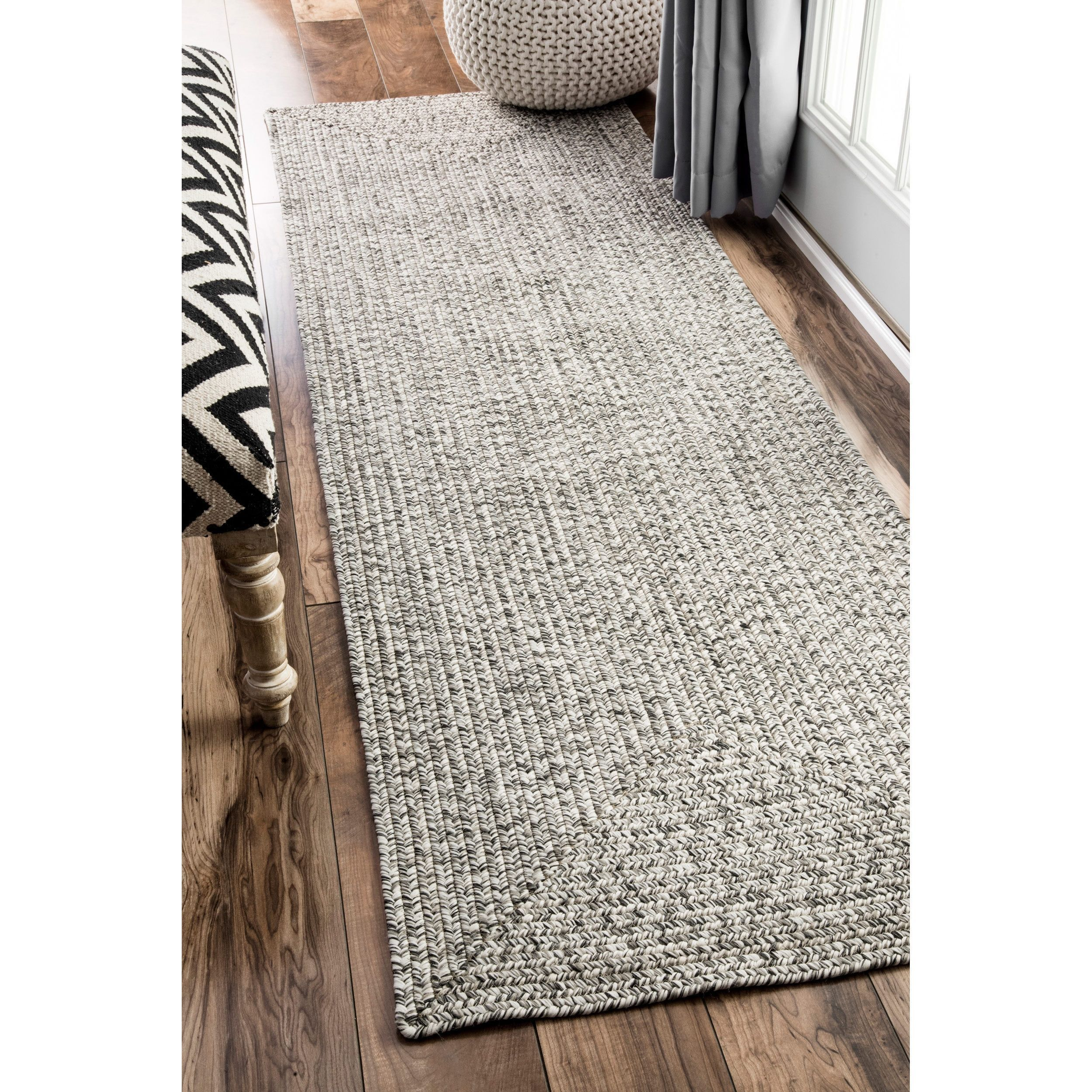 Nuloom Handmade Casual Solid Braided Runner Grey Rug 2 6 X 12