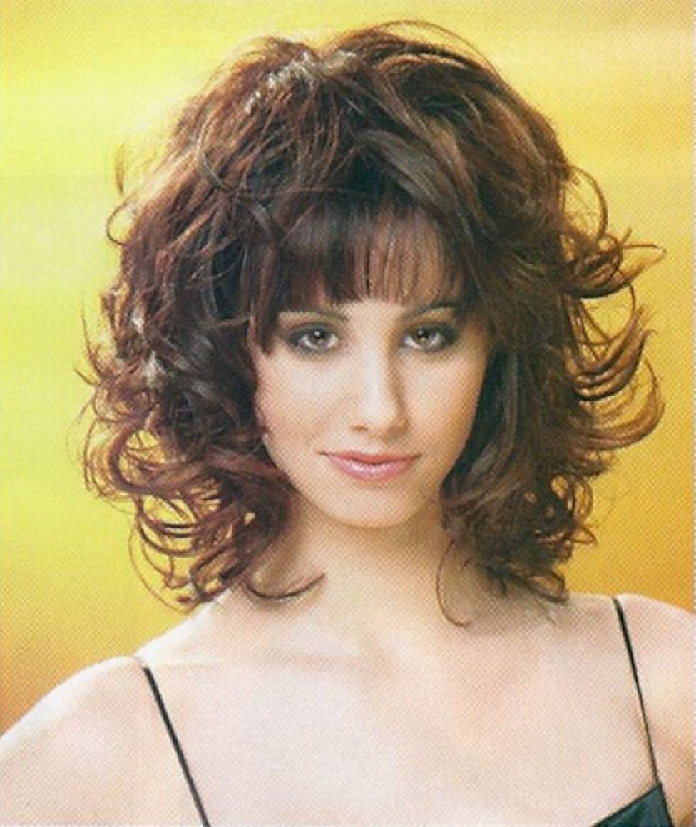 layered mid length hairstyles with bangs for curly hair
